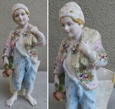 Antique Porcelain bisque Figurine Russian peasant boy DRESDEN German vase ROSES