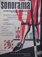 PUBLICITÉ DE PRESSE 1958 SONORAMA LE MAGAZINE SONORE DE L'ACTUALITÉ