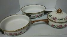 4 Pieces ASTA Enameled Frying Pan + Sauce pot + Pan w/handles West Germany