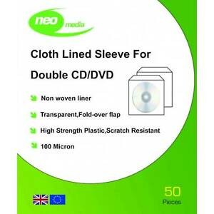 Neo Media 100 Micron Cloth Lined CD/DVD Double Sleeves - 50 Pack