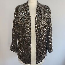 BNWT Even & Odd Sz Large Gold Black Sequin Embellished Soft Jersey Blazer Jacket