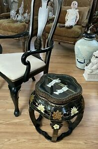 Chinese Black Lacquered Side Table