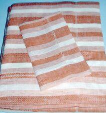 Sferra ASCOT DUVET COVER F/Queen Paprika Woven Linen Herringbone Stripe Sample