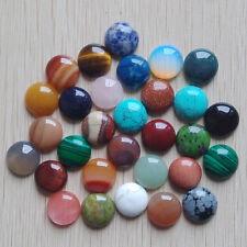 Wholesale 30pcs natural gemstone mixed round CAB CABOCHON stones beads 16x16mm
