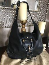 Burberry Hillgate Hobo Parchment Black Leather W/ Gold/Hardware Shoulder Bag✅💲