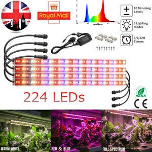 100W 224 LED Grow Light Tube Strip Full Spectrum Timer for Indoor Plants Flowers