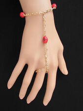 Women Bracelet Slave Gold Fashion Ethnic Hand Chains 3 Red Beads Chain Ring Cute