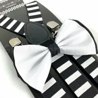 Suspender and Bow Tie Adults Men Pirate Crossbones Formal Wear Accessories