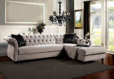 NEW Traditional Living Room Sectional - Gray Velvet Fabric Sofa Couch Set ICA5
