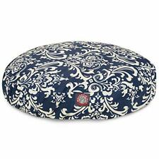 Navy Blue French Quarter Small Round Indoor Outdoor Pet Dog Bed With Removabl.