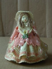 YOUNG GIRL WEARING ELABORATE DRESS FIGURINE ON WOOD BASE *SHRINK WRAPPED*
