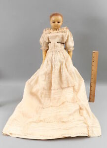 RARE Large 20in Antique Wax Doll, Working Mechanical Sleep Eyes, NR