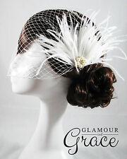 Willow vintage wedding bridal birdcage veil white feather fascinator headpiece