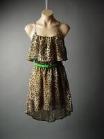 Sale Leopard Animal Print Green Belted Strappy Ruffle Slip Sun 79 mv Dress S M L
