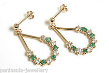 9ct Gold Emerald and CZ Drop earrings Gift Boxed