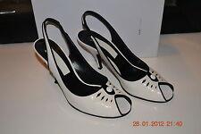 MARC JACOBS Black and White Patent Peep Toe Heel Slingbacks 9