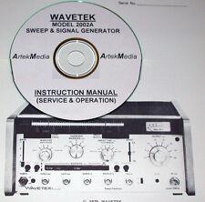 Wavetek 2002a Sweep Amp Signal Generator Instruction Manual Operating Amp Service