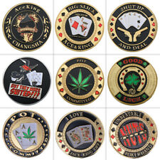 WR 9pcs Gold Casion Texas Poker Guard Card Challenge Coin Chip Gifts For Men
