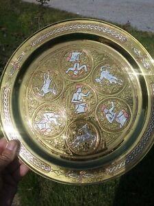 Lg. Plate Antique-Islamic~Mameluk-Cairoware Silver & Copper Inlaid Brass Platter