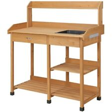 Outdoor Garden Potting Bench Table Work Bench Metal Tabletop W/Cabinet Drawer