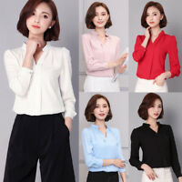 Korean Women Chiffon V Neck OL Tops Solid 2XL Formal Party Career Shirt Blouse
