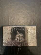 Vintage Silver Business Card Holder Montana Silversmiths Fishing 🎣💰