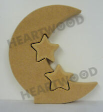 MOON WITH 2 SMALLER STARS INSERT IN MDF (150mm x 18mm thick)/WOODEN CRAFT SHAPE
