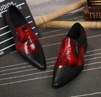 Mens British Mixed Color Pointed Toe Slip On  Leather Formal Dress Shoes Splice