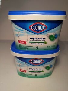 2 - Clorox Triple Action Dishwashing Detergent Fresh Scent 86 total pacs. NEW