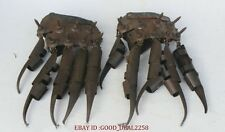 "10"" Old Chinese Bronze War General Protective Sleeve Gloves Sharp Claws Pair"