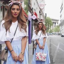 ZARA Sky Blue 100% Cotton Crisp Poplin Full Midi Skirt M  BNWT  REF: 3440 243