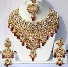 Indian Jodha Akbar Joyas Conjunto Rojo Piedras Oro Plateado Nuevo-AQ/21