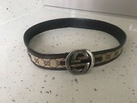 GUCCI GG Monogram Canvas & Leather Authentic Belt