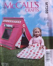 """18"""" GIRL DOLL SLEEPING BAG & TENT  McCall's Sewing Pattern 7268 American Made"""