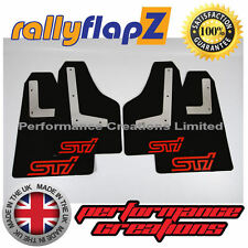 rallyflapZ SUBARU IMPREZA Sedan (2010-2014) Mud Flaps Kit Black STi Red 4mm PVC
