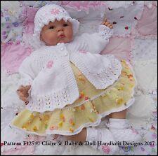 "BABYDOLL HANDKNIT DESIGNS KNITTING PATTERN F125 DRESS SET 16-22"" DOLL 0-3M BABY"