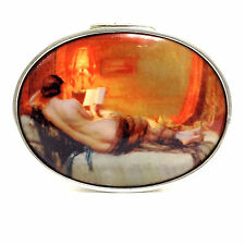 HUGE OVAL ENAMEL 1930'S STYLE NUDE READING A BOOK PILL BOX 925 SILVER HALLMARKED