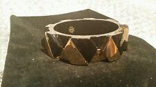 TORY BURCH Connor Wide Hexagonal Bangle Bracelet Black Gold Tone NEW
