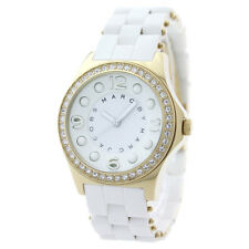NEW-MARC JACOBS WHITE PELLY SILICONE GOLD GLITZ & CRYSTALS WATCH-MBM2534