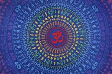 """3-D OM AUM PSYCHEDELIC 5x7.5ft 60""""x90""""in. TAPESTRY WALL HANGING w/FREE GLASSES"""