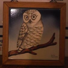 Frame Signed Art Tile Snowy Owl Artist Alps Tschudy