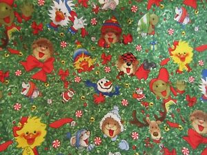 Suzy Zoo Christmas Green Hoffman Premium Quilting Cotton Fabric OOP RARE 1/2YARD