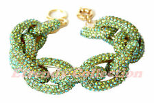 Sale - Peridot Chunky Pave Classic Crew Chain Bracelet J Style 1,500+ Crystals