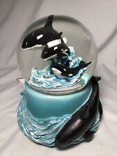 Resin Whale Orca Mammal Snow Globe Musicbox Ocean Waves