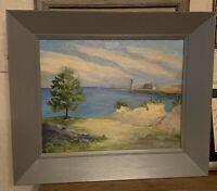 Marion Ladd Symes, Lighthouse Landscape, Custom Frame