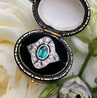 Art Deco Emerald and Diamond Ring 0.50ct + 0.65ct 18Carat White Gold