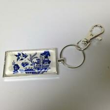 Beautiful, Rare,  Blue Willow, Silver Tone Key Chain, 4.75in L x 2in x 1in