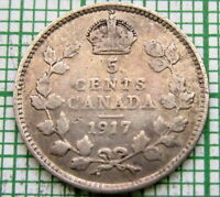 CANADA GEORGE V 1917 5 CENTS, SILVER