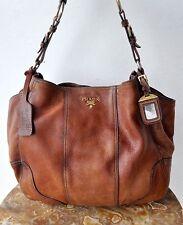 PRADA Original Deerskin Cervo Antik Brown Leather Hobo Bag Italy RARE! RRP $2500