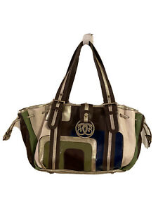 Sharif Studio Shoulder Handbag Leather & Patent Leather Brown, Cream, Navy